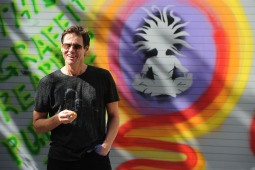 "©BAUER-GRIFFIN.COM Jim Carrey is in a playful mood and smiles as he paints ""graffiti"" on his West Village studio's door. NON-EXCLUSIVE September 8, 2011 Job: 110908NZ1 New York, New York www.bauergriffin.com www.bauergriffinonline.com"
